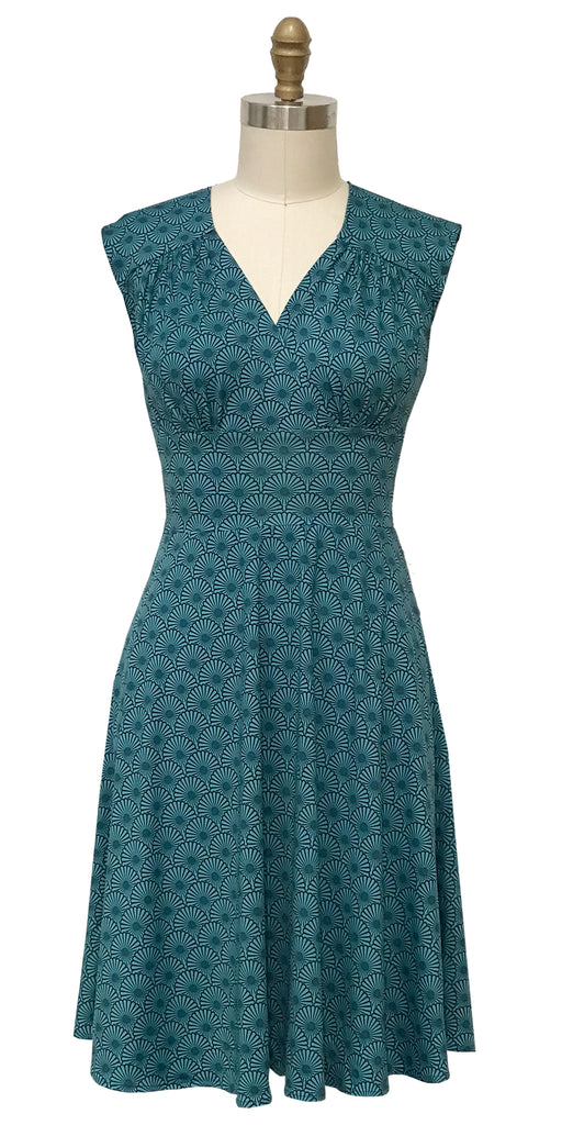 Nora Dress in Teal Fans