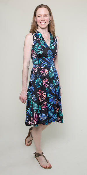 Peggy Dress in Black Tropical Palm by Karina Dresses
