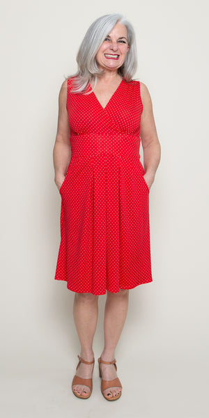 Penelope Dress in Red with White Pin Dots by Karina Dresses