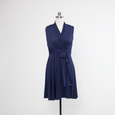 Ruby Dress - Navy with White Pin Dots