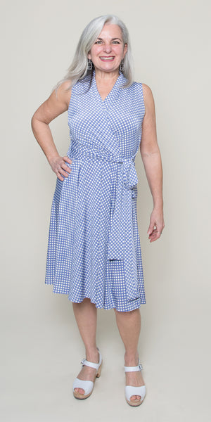 Ruby Dress in Blue and White Gingham by Karina Dresses