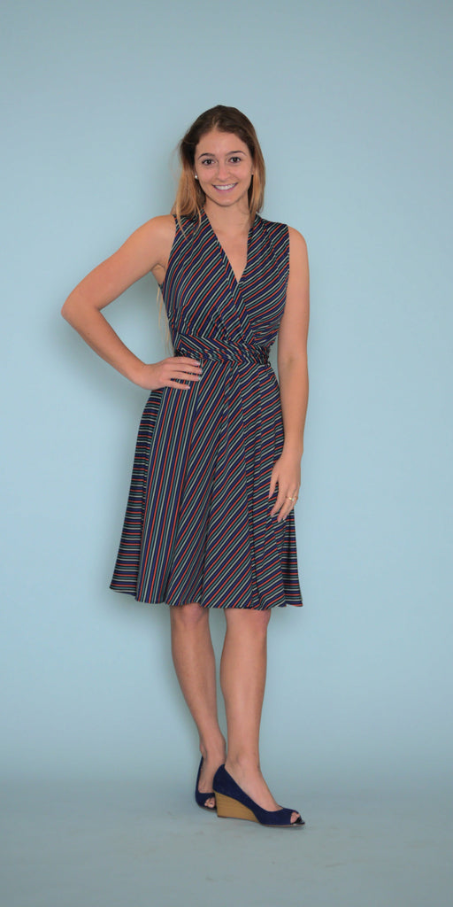 Ruby Dress in Mod Stripe Model View