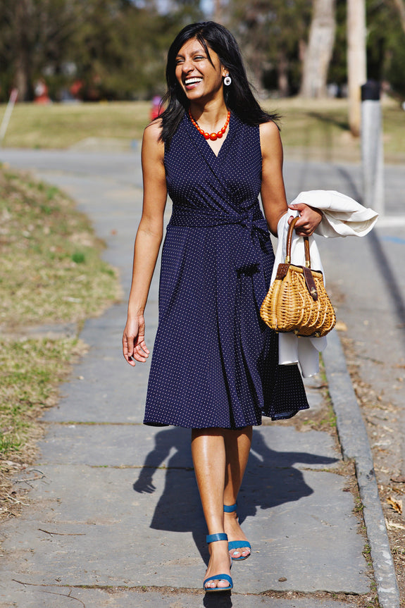 Ruby Dress in Navy Pin Dots
