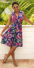 Ruby Dress - Navy Tropical Palms