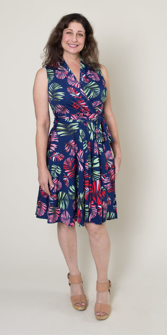 Ruby Dress in Navy Tropical Palm