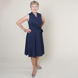 Ruby Dress in Navy with White Pin Dots by Karina Dresses