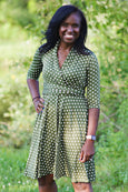 Ruby Dress in Olive Polka Dots by Karina Dresses