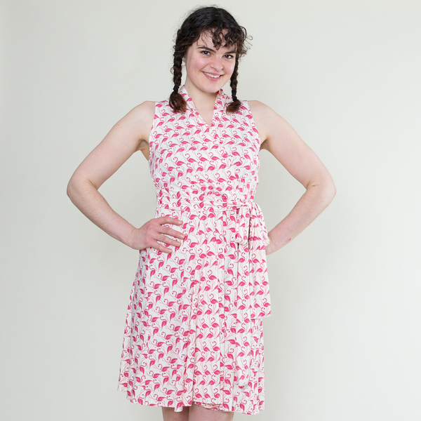 Ruby Dress in Pink Flamingos by Karina Dresses