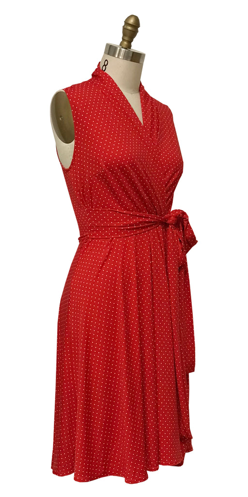 Ruby Dress - Red with White Pin Dots