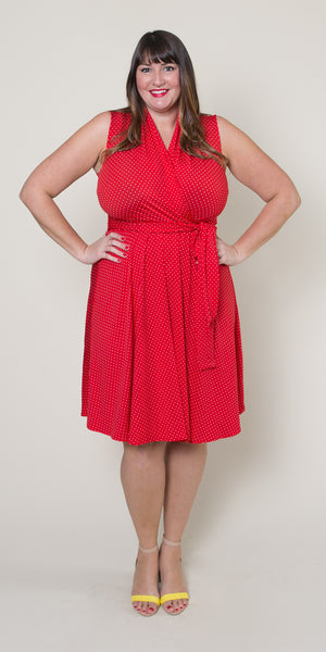 Ruby Dress in Red with White Pin Dots