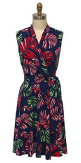 Ruby Dress - Navy Tropical Palm