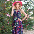 Tara Dress in Navy Tropical Palm by Karina Dresses