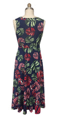 Tara Dress - Navy Tropical Palm