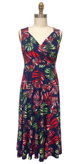 Tara Dress in Navy Tropical Palm