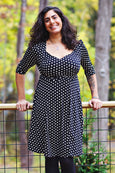 Tina Dress - Black and White Polka Dot