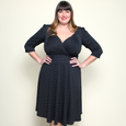 Trudy Dress in Black with White Pin Dots by Karina Dresses