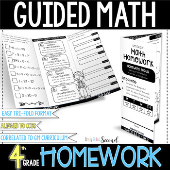 4th grade Guided Math Homework Trifolds