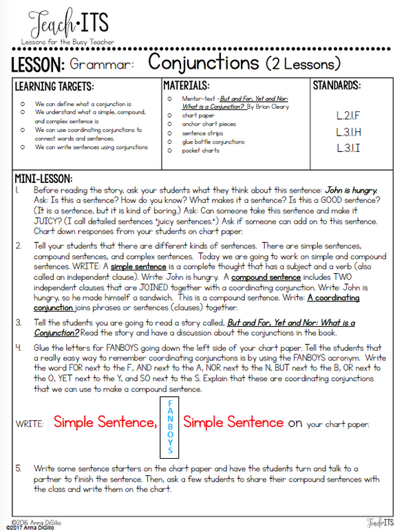 Conjunctions Lesson Plan