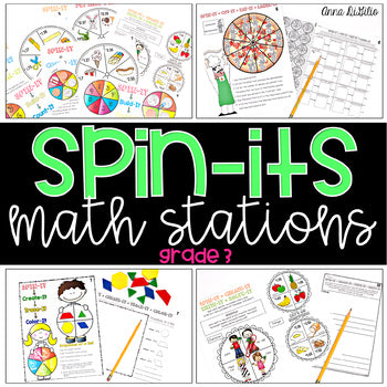 3rd Grade Spin-Its Math Stations Yearlong Bundle
