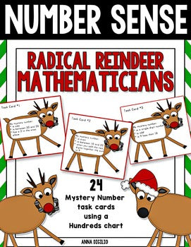 Number Sense Radical Reindeer Task Cards