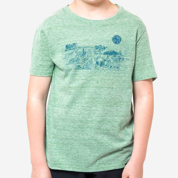 kids city tee - green heather