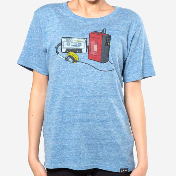kids mixtape tee - blue heather