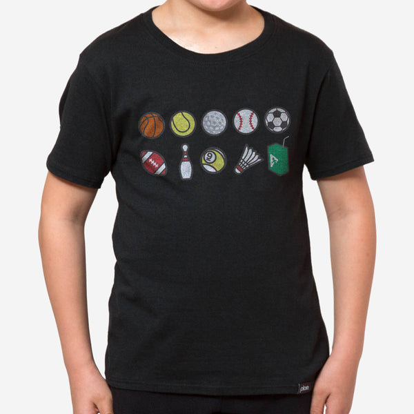 kids perks n rec tee - black heather