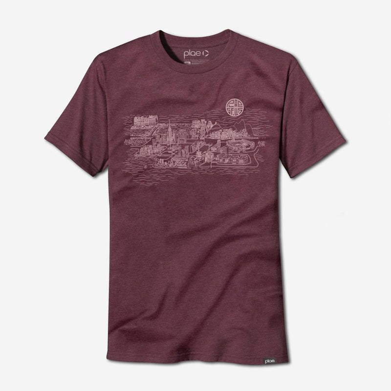 mens city tee - berry heather