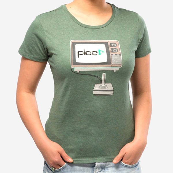 womens 8 bit tee - asparagus heather