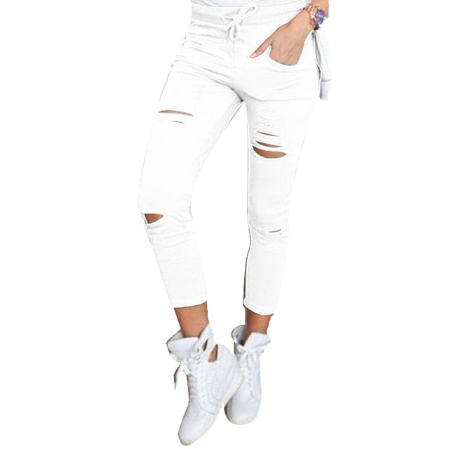 Dina Elastic Ripped jeans for women - SlickTouch