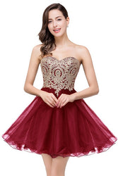 Helen Backless Burgundy Lace Short Prom Dresses - SlickTouch