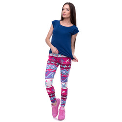 Serena Fashion Aztec Printing Slim High Waist Leggings - SlickTouch
