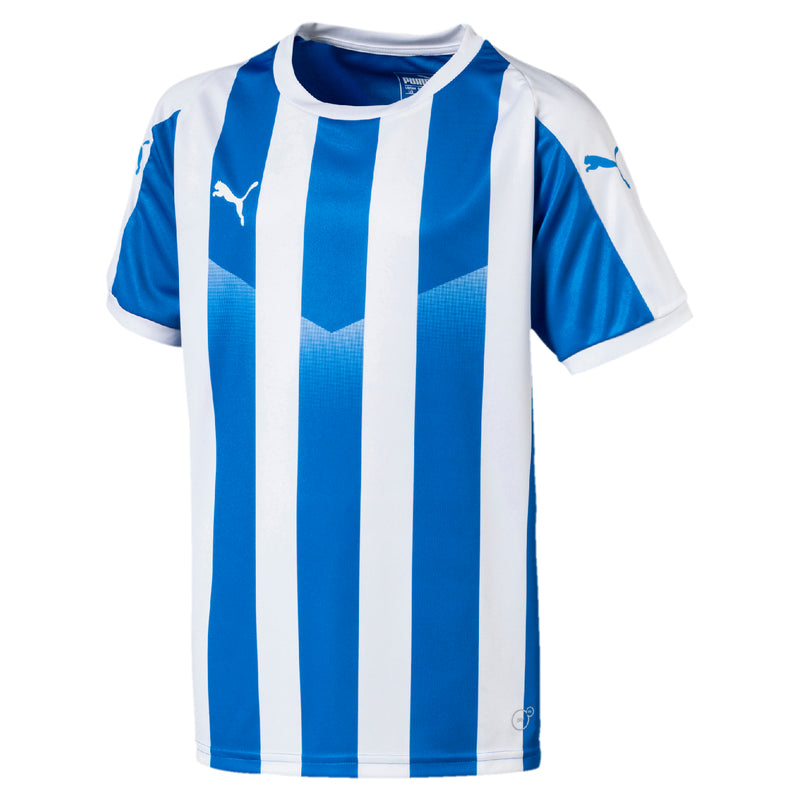 LIGA Jersey Striped póló Jr Electric Blue Lemonade-White - Teamsport & Lifestyle