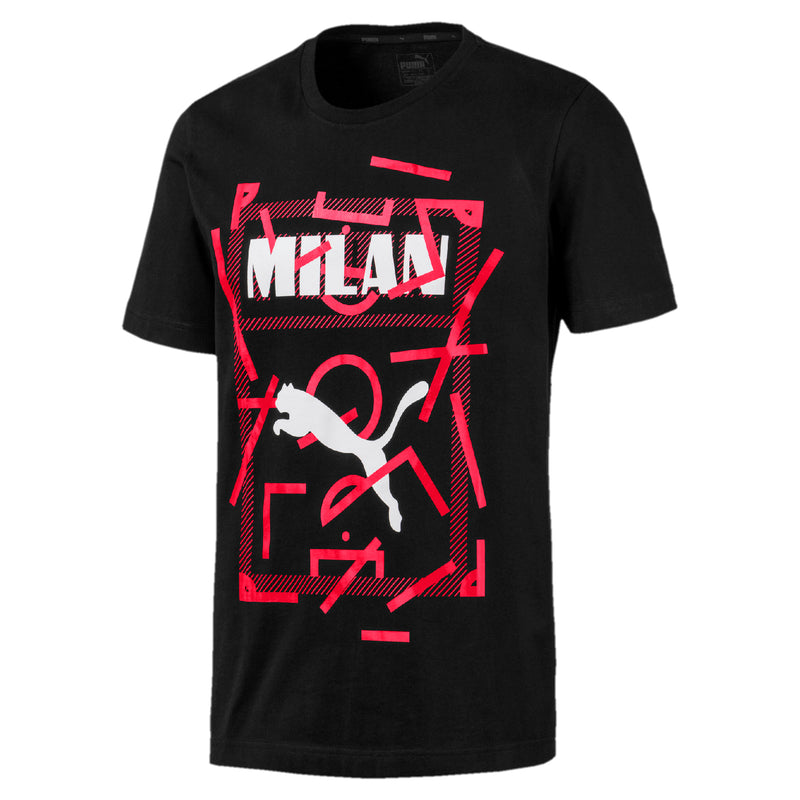 AC Milan Puma DNA póló Cotton Black-tango red - Teamsport & Lifestyle