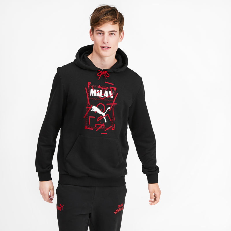 AC Milan Puma DNA Hoody pulóver Puma Black-Tango Red - Teamsport & Lifestyle
