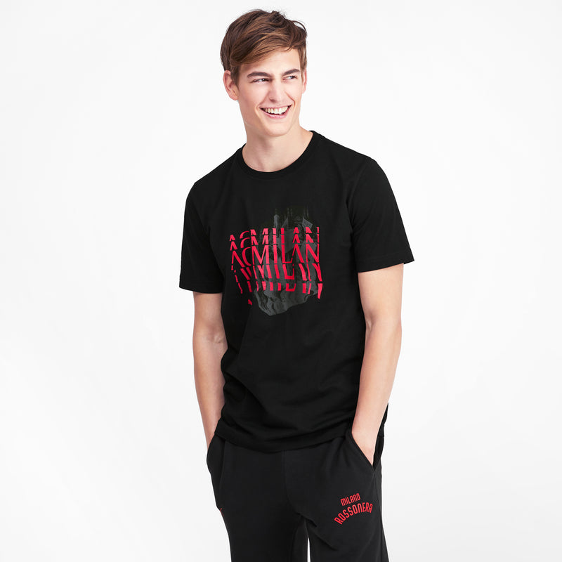 AC Milan Grafika póló Cotton Black-tango red - Teamsport & Lifestyle