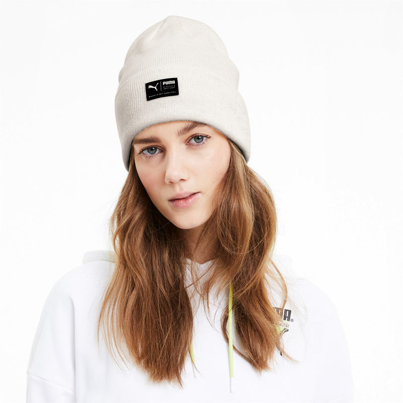 Archive heather beanie kötött bordázott sapka Puma White
