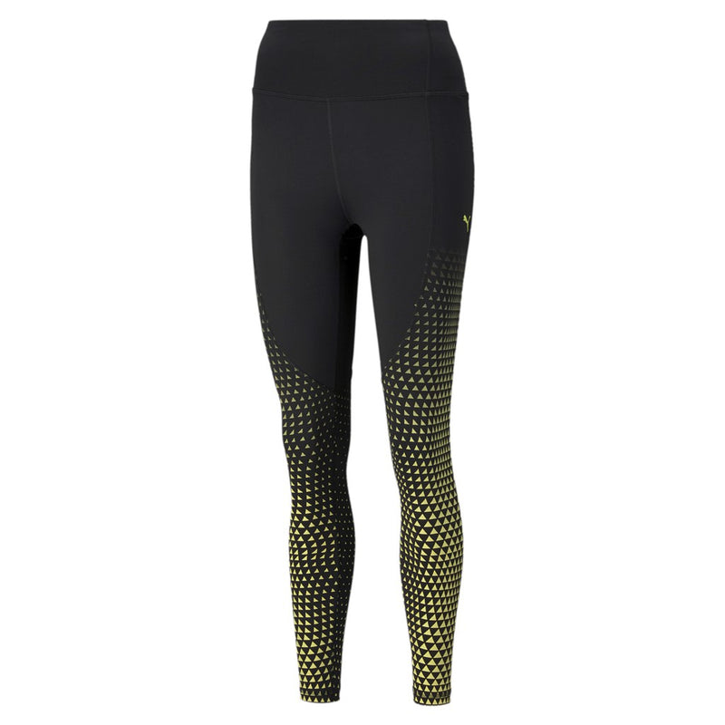 Train Digital Print High Waist 7 8 Tight női fitness nadrág Puma Black-SOFT FLUO YELLOW-print