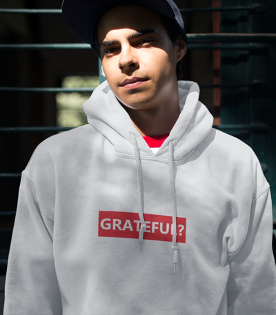 Men's White (red) Grateful Hoodie