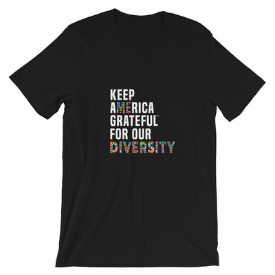 Grateful for Diversity (Flags) Black Short-Sleeve T-Shirt