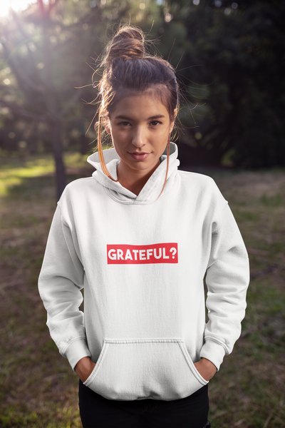 Women's White Soft Grateful Hoodie