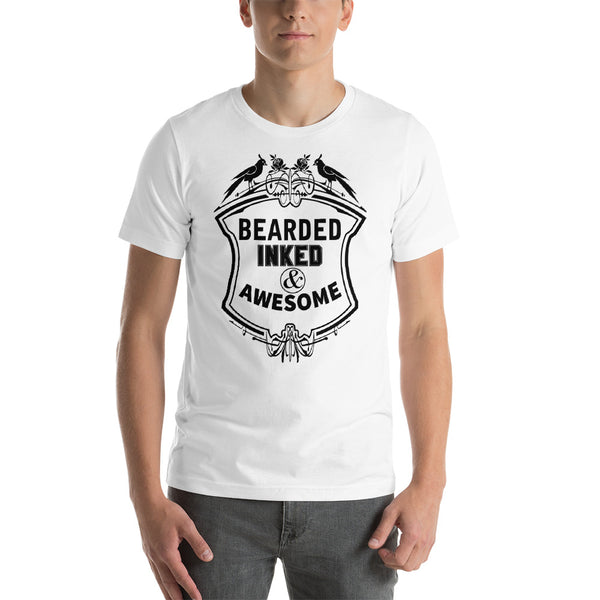Bearded Inked & Awesome - Short-Sleeve T-Shirt
