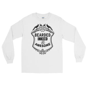 Bearded Inked & Awesome Long Sleeve T-Shirt
