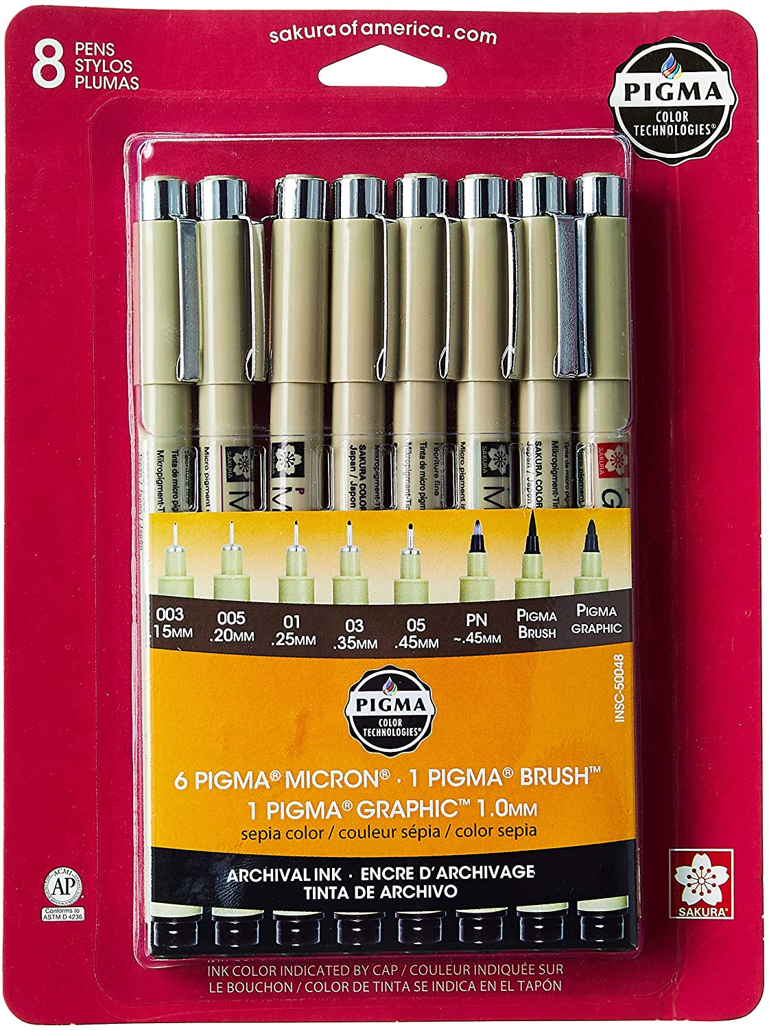 Pigma Micron Set of 8 Assorted, Sepia
