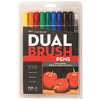 Tombow Duel Brush Marker Set/10 Primary