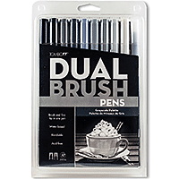 Tombow Duel Brush Marker Set/10 Gray Scale