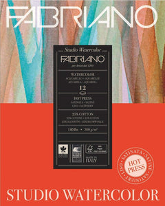 Fabriano Watercolour Paper Pad Hot Press 140lb 8x10 12sh