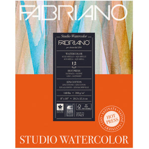 Fabriano Watercolour Paper Pad Hot Press 90lb 8x10 20sh