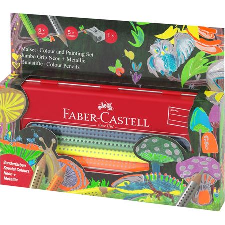 Faber-Castell Jumbo Grip Neon & Metallic Coloured Pencil Set