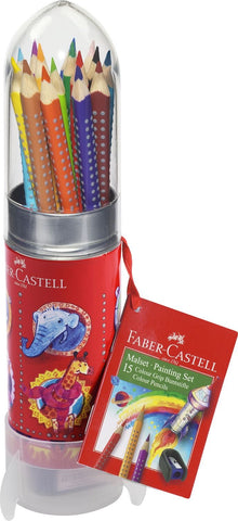 Faber-Castell GRIP Painting Drawing Colour Pencils Rocket Set